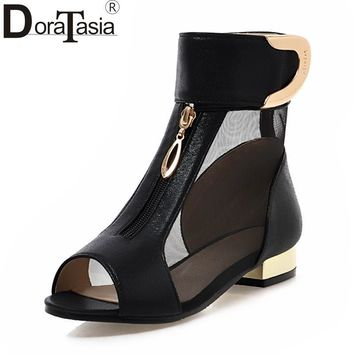 Sandals Sexy Gauze Peep Toe Summer Boots Loop And Metal Decoration Design Solid Thick