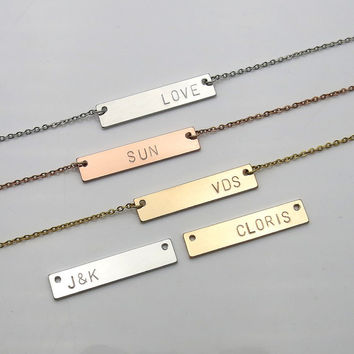 Personalized gifts Name bar necklace bridesmaid gifts hand stamped jewelry Birthday Gift best friend necklace Initial necklace