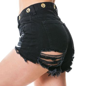 Fashion Ripped High Waist Tassel Buttons Shorts