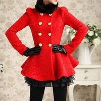 Red Black Fur Collar Wool Skirt Style Coat For Women-NC244 | StylishLife - Clothing on ArtFire