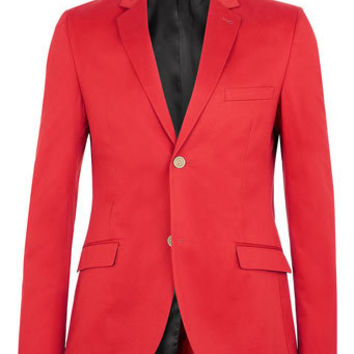 Red Cotton Skinny Suit Jacket - Men's Suits  - Clothing