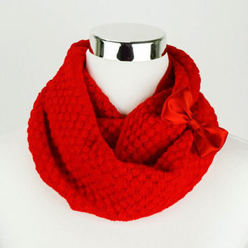 Red Scarf Custom Red Knitted Scarf Red Crochet Infinity Scarves Red Knitted Infinity Scarves Red Knit Infinity Scarf Bow Red Crochet Scarf