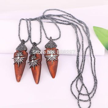4Pcs Fashion black hematite beads necklace wood with Cz rhinestone paved Pendant,arrowhead pendants
