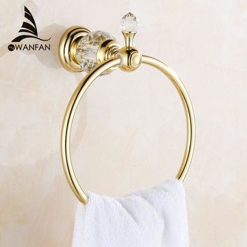 Towel Rings Luxury Crystal Brass Gold Towel Ring Towel Holder Bath Towel Bar Bathroom Accessories Home Decoration Useful HK-23