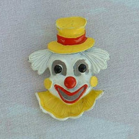 GERRY'S Enameled Clown Pin Brooch 1950s Vintage Figural Jewelry