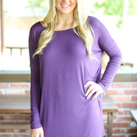 Piko Tunic Dress Long Sleeve- Purple
