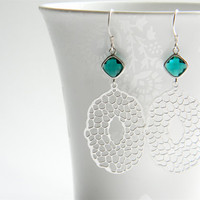Matte Silver Filigree Pendant Dangle Earrings with Emerald Green Faceted Glass Drops