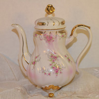 Lefton Heirloom Rose Teapot Vintage Shabby Chic Pink Rose Small Coffee Pot 3 Footed Gilded Tea Pot 1075 Replacement Discontinued China