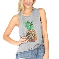 Grey Pineapple Muscle Tank Top at Blush Boutique Miami - ShopBlush.com