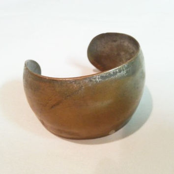 Distressed Bronze Cuff, Minimalist Bracelet, Large Solid Rustic Bangle, Free US Shipping
