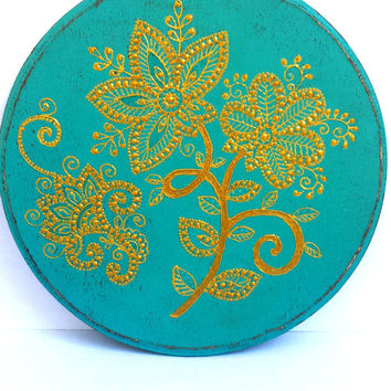 Mehendi flowers plaque Wooden plaque Point-to-point painting Wall plaque Table plaque