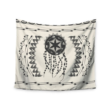 "Famenxt ""Bohemian Dream Catcher Boho"" Black Beige Wall Tapestry"
