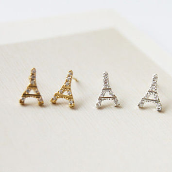 Eiffel Tower Earrings, Paris Earrings, France Earrings, Cute Earrings, Cubic Earrings, Brass Earrings, 925 Silver Earrings, Gift Idea
