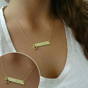 Gold Name Bar Necklace, Dainty Name Necklace, Initial Necklace ,Gold charm necklace , Gold Necklace, Gold Bar Necklace 14k gold filled