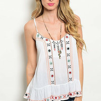 Ancient Embroidered White Tank