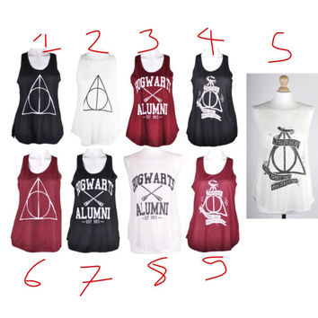Harry Potter ,Hogwarts ,5 sos summer ,triangle,Starbucks ,artic monkeys ,jack daniels ,obey ,celine paris clothing tank tops vest for ladies