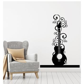 Vinyl Wall Decal Acoustic Guitar Music Playing Musical Instrument Stickers Mural (g452)