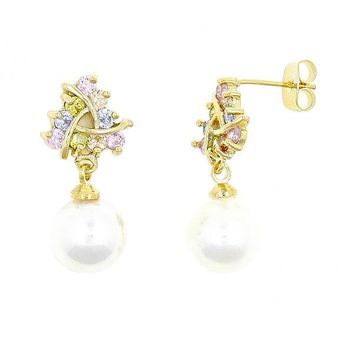 Gold Layered Stud Earring, Ball Design, with Cubic Zirconia and Pearl, Gold Tone
