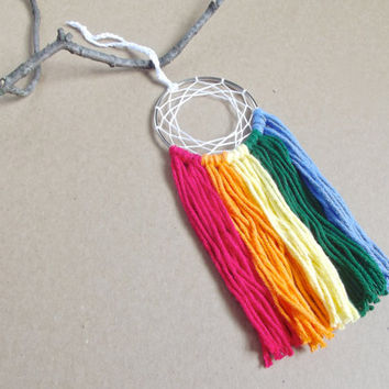 Rainbow Dream Catcher Rainbow Dreamcatcher Rainbow Wall Hanging Small Dream Catcher Yarn Wall Hanging Boho Wall Decor Nursery Crib Mobile