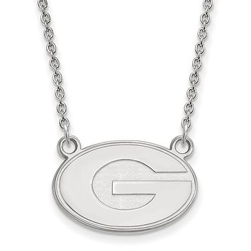 NCAA Sterling Silver U of Georgia Small 'G' Pendant Necklace