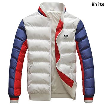 Adidas Winter Trending Men Women Stylish Print Zipper Cardigan Couple Cotton Jacket Coat Windbreaker White