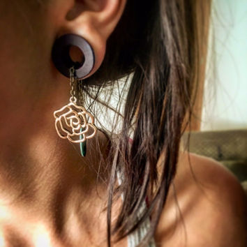 Magnetic Tunnels with Golden Rose Dangles-Sizes 2g (6mm)- 38mm/ Wedding/ Hippie/ Bohemian/ Organic Plug Gages for Stretched Ears