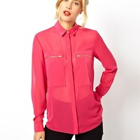 ASOS Blouse with Sheer and Solid Panels and Zip Detail - Pink $32.