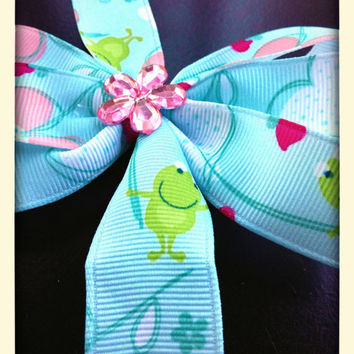 Pink & blue bow hearts flowers frogs flowers pinwheel boutique bow for babies toddlers girls