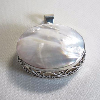 Silver Filigree and Pearl Shell Pendant