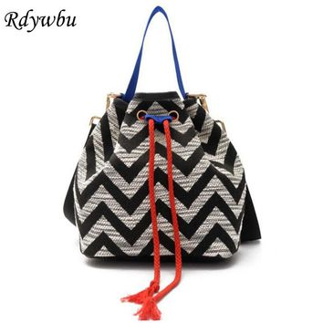 Rdywbu Summer Handbags Newest Fashion Hemp Rope Drawstring Wave Striped Bucket Bag National Wind Messenger Bag Crossbody H194
