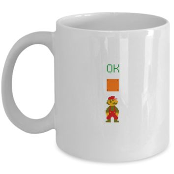 Ok Mario Man Up Video Game Gamer Drinking Coffee Mug