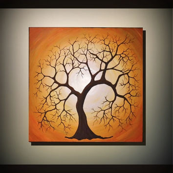 Original Fine Art, Tree of Life Painting 20x20 Modern Home Decor, Unique Gift, Abstract Landscape, Spring Fresh Wall Art