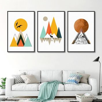 Creative Geometric Mountain Peak Elk Framed Painting Nordic Canvas Wall Art Poster Home Decoration Bedroom Modular Pictures