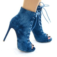 Lora18A Peep Toe Washed Denim Booties w High Stiletto Corset Lace Up