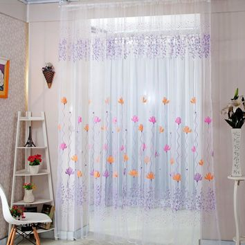 Home Decor Drapes Sheer Window Curtains for Living Room Bedroom Kitchen Modern Tulle Curtains Sun Floral Fabric Blinds