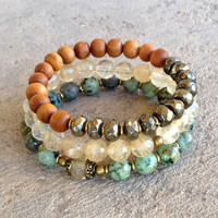 African Turquoise, Yellow quartz crystal, Pyrite, and Sandalwood mala bracelet stack