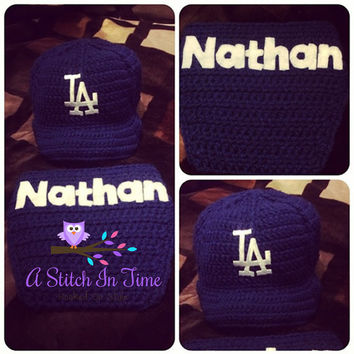Personalized Baby Baseball Team Sports, Cap, Beanie, Hat, and Diaper Cover With Name Photo Prop Outfit Set For Newborn-6 Month in LA Dodgers