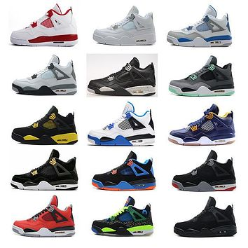 Air retro 4 men Basketball shoes Military Motosports blue Alternate 89 Pure Money White Cement Royalty bred Fire Red Black Cat oreo sneakers
