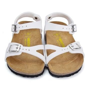 Birkenstock Leather Cork Flats Shoes Boys and girls Casual Sandals Shoes Soft Footbed Slippers-7
