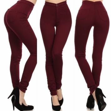 high waisted burgundy skinny jeans | Gommap Blog