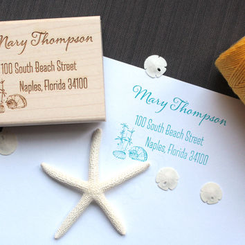 Custom Beach Return Address Stamp - Beach Wedding Address Stamp