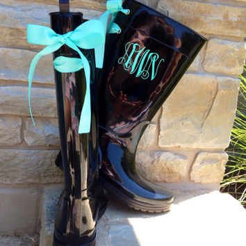 Monogramed Black Gloss Rain Boots with Tiffany Blue Bow