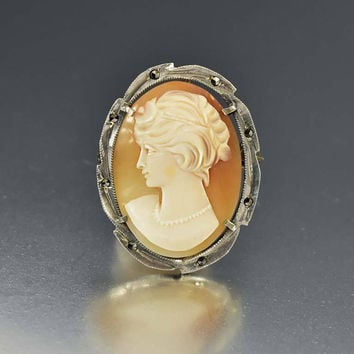 Silver Marcasite Shell Cameo Pendant Brooch