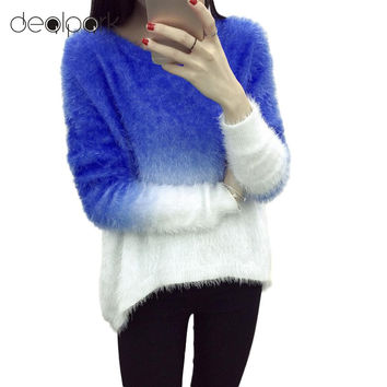New Fashion 2016 Women Elegant Gradient Color Knitted Mohair Sweaters And Pullovers Ladies Warm Autumn Winter Knitwear