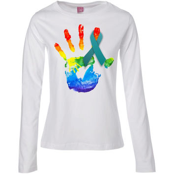 Ovarian Cancer Awareness Teal Ribbon with color hand artwork  Ladies' Long Sleeve Cotton TShirt