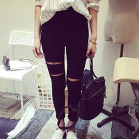 Fashion Womens Casual Black High Waist Torn Jeans Ripped Hole Knee Skinny Pencil Pants Slim Denim Jeans Women = 5708532161