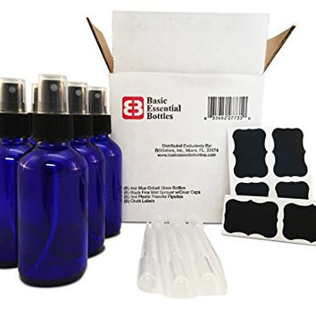 (6) 4 Ounce 4 oz Empty Cobalt Blue Glass Bottles W/black Fine Mist Sparyer (6) 3ml Pipettes (6) Chalk Labels for Essentail Oils, Cleaning Products, Aromatherpy