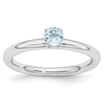 Rhodium Plated Sterling Silver Stackable 4mm Round Aquamarine Ring