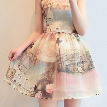 3D Landscape Print Sleeveless Chiffon Princess Mini Dress