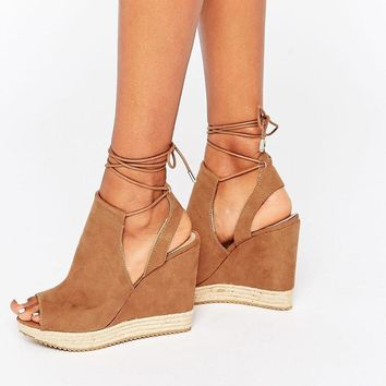 Call it Spring | Call It Spring Wirewiel Wedge Sandal With Wrap Around Lace at ASOS